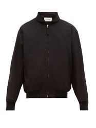 Christophe Lemaire Zip Front Cotton Twill Bomber Jacket Black