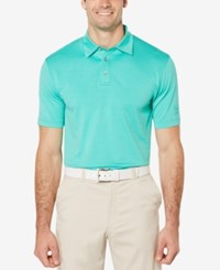 Pga Tour Men's Mini Geo Textured Golf Polo Teal
