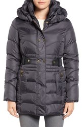 Via Spiga Women's Snap Detail Pillow Collar Puffer Coat Grey