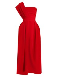 Preen Ace One Shoulder Pleated Stretch Cady Midi Dress Red