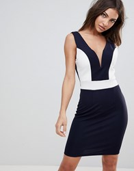 Wal G Midi Dress With Deep Sweetheart Neckline And Contrast Panels Navy White