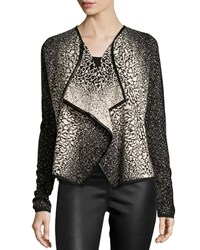 Neiman Marcus Speckled Drape Front Cardigan Black Taupe