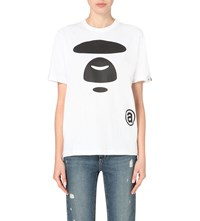 Aape By A Bathing Ape Branded Cotton Jersey T Shirt White