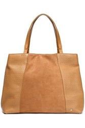 Halston Woven Leather And Suede Tote Camel