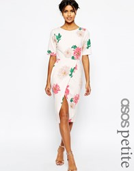 Asos Petite Occasion Wiggle Dress In Floral Print With Wrap Front Multi