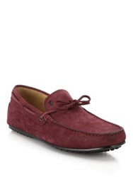 Tod's City Gommini Tie Front Drivers Dark Red