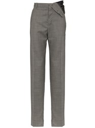 Y Project Asymmetric Wool Blend Trousers Grey