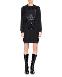 Kenzo Long Sleeve Graphic Sweaterdress Black