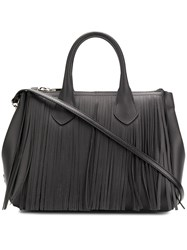 Gum Small Fringed Tote Black