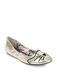 Karl Lagerfeld Shupet Embroidered Cat Ballet Flats Gold