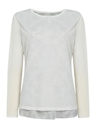 Linea Eastern Storm Print Double Layer Top White