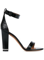 Givenchy Crocodile Embossed Chain Trim Leather Sandals Black