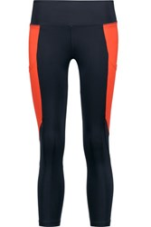 Purity Active Cropped Two Tone Mesh Trimmed Stretch Leggings Bright Orange
