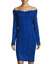 Marina Long Sleeve Off The Shoulder Lace Dress Roy