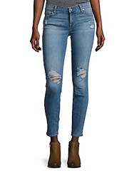 7 For All Mankind Gwenevere Distressed Skinny Fit Jeans Blue