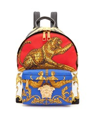 Versace Baroque And Leopard Print Satin Backpack Gold Multi