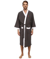 Jockey Waffle Kimono Charcoal Heather Grey With White Trim Men's Robe Gray