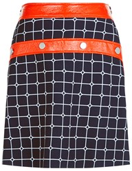 Courreges Navy And Orange Vinyl Buttoned Skirt