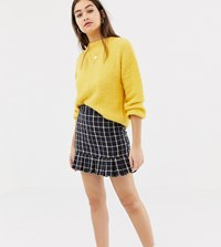Daisy Street Tailored Skirt In Vintage Check Navy Check Beige