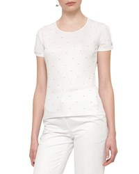 Akris Punto Pearly Stud Knot Sleeve T Shirt Cream