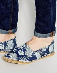 Asos Denim Espadrilles With Hawaiian Floral Print Blue
