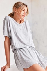 Silence And Noise Slouchy Tee Romper Light Grey