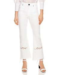 Sandro Telia Appliqued Cropped Flared Jeans In White