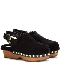 Alexander Mcqueen Shearling Lined Suede Platform Clogs Black
