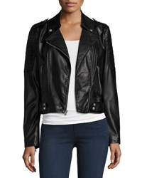 Marc New York Leanne Faux Leather Moto Jacket Black