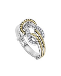 Newport 18K Gold Diamond Knot Ring Silver Lagos