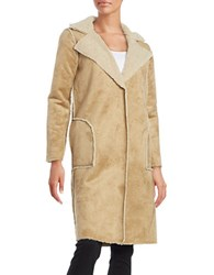 Velvet By Graham And Spencer Faux Fur Long Sleeve Coat Camel Beige