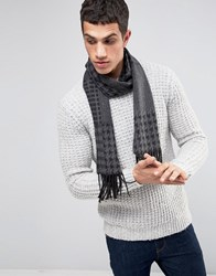 Asos Scarf In Charcoal Patchwork Check Charcoal Grey