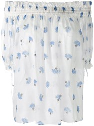 Alexander Mcqueen Floral Off Shoulder Blouse Women Cotton 42 White