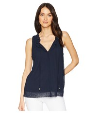 Ellen Tracy Shirred Neck Sleeveless Top Ink Navy