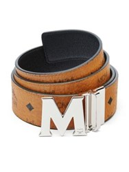 Mcm Monogrammed Leather Belt Cognac