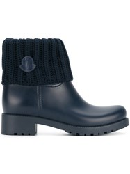 Moncler Ginette Boots Leather Polyurethane Wool Rubber Blue