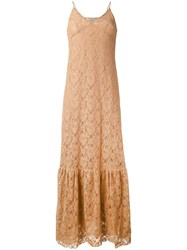 Nude Long Sleeveless Lace Dress Women Cotton Polyester 40 Nude Neutrals