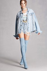 Forever 21 Denim Lace Up Stiletto Boots Denim Washed