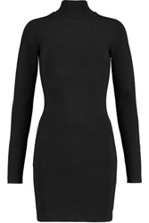 Dion Lee Cutout Stretch Knit Turtleneck Mini Dress Black