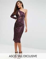 Asos Tall Red Carpet Lace Paneled Pencil Dress Purple
