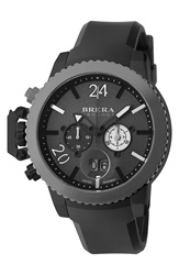 Brera 'Militare Ii' Round Chronograph Watch 48Mm Black Gunmetal