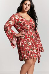 Forever 21 Plus Size Floral Ruffle Dress Red Sage
