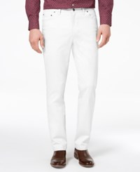 Tasso Elba Men's Classic Fit Stretch Pants Created For Macy's Vintage White