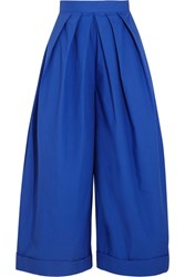 Delpozo Pleated Cotton Poplin Wide Leg Pants Royal Blue
