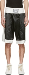 Moncler Gamme Bleu Black And White Satin Boxing Shorts