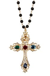 Cara Accessories Rhinestone Embellished Cross Beaded Necklace Yellow