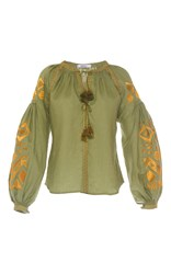 March11 Olive Kilim Blouse Green