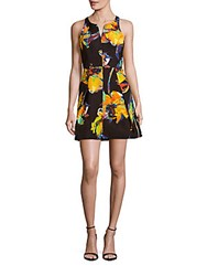 Milly Printed Fit And Flare Dress Black