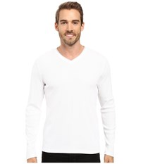 Calvin Klein Long Sleeve Rib V Neck White Men's Clothing