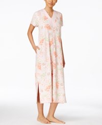 Miss Elaine Tropical Floral Print Zip Up Robe